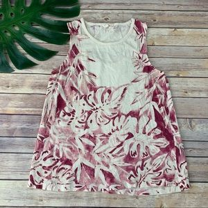 Lucky Brand cream and pink tropical floral tank